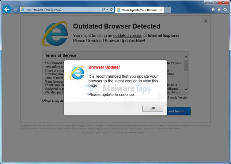 Picture of Update-browser.org virus