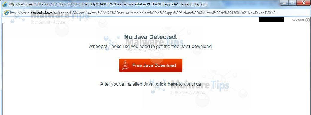 [Image: No Java Detected pop-up virus]
