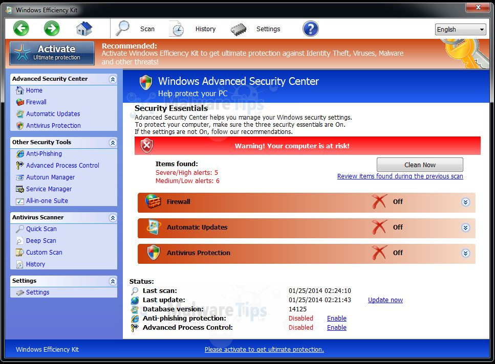 [Image: Windows Efficiency Kit rogue antivirus]