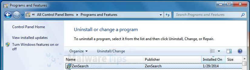[Image: Uninstall ZenSearch from Windows]