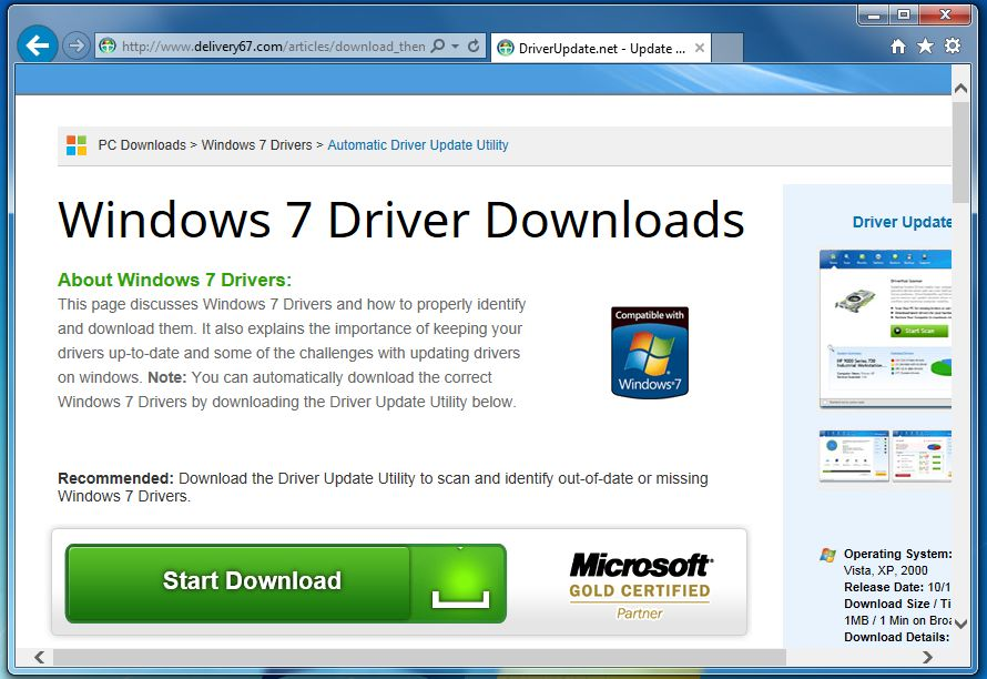 [Image: Delivery67.com pop-up virus]