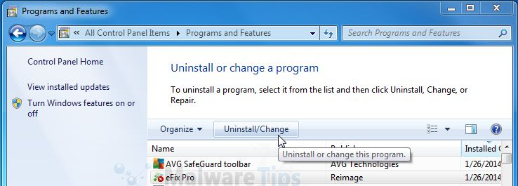 [Image: Uninstall eFix Pro program from Windows]