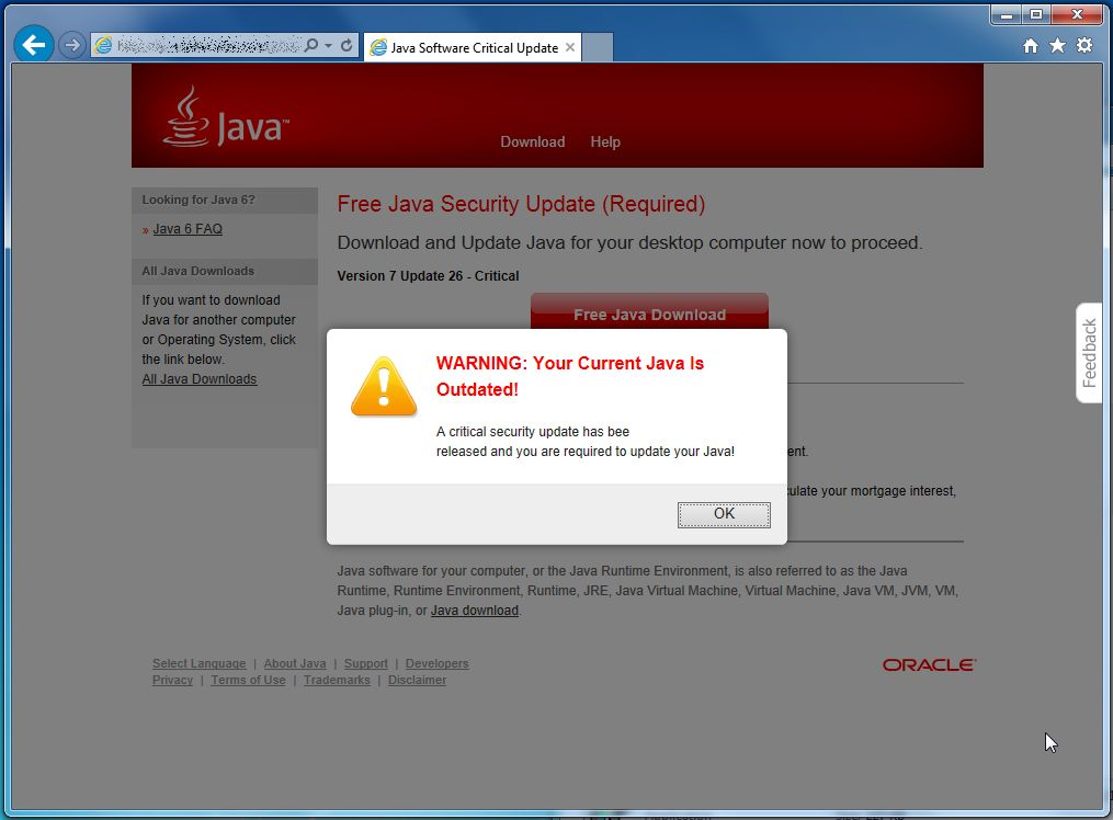 "The ""Java Software Critical Update"" popup ad is a social"