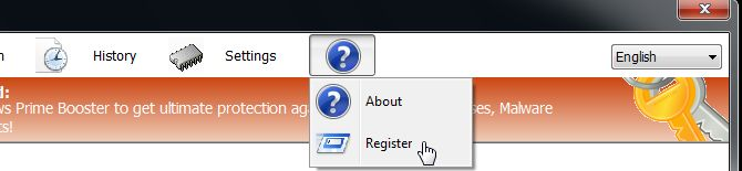 [Image: Click on the question mark and select Register]