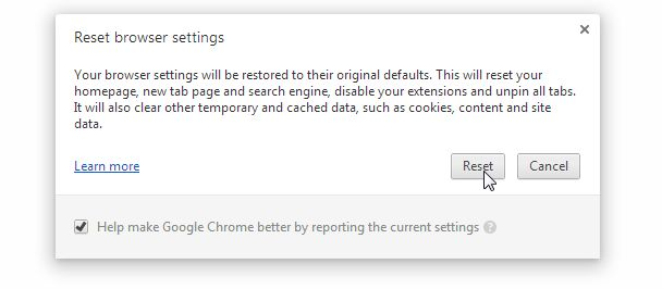 [Image: Click on Reset to restore Chrome to default settings]
