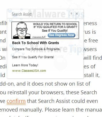 [Image: Search Assist pop-up ads]