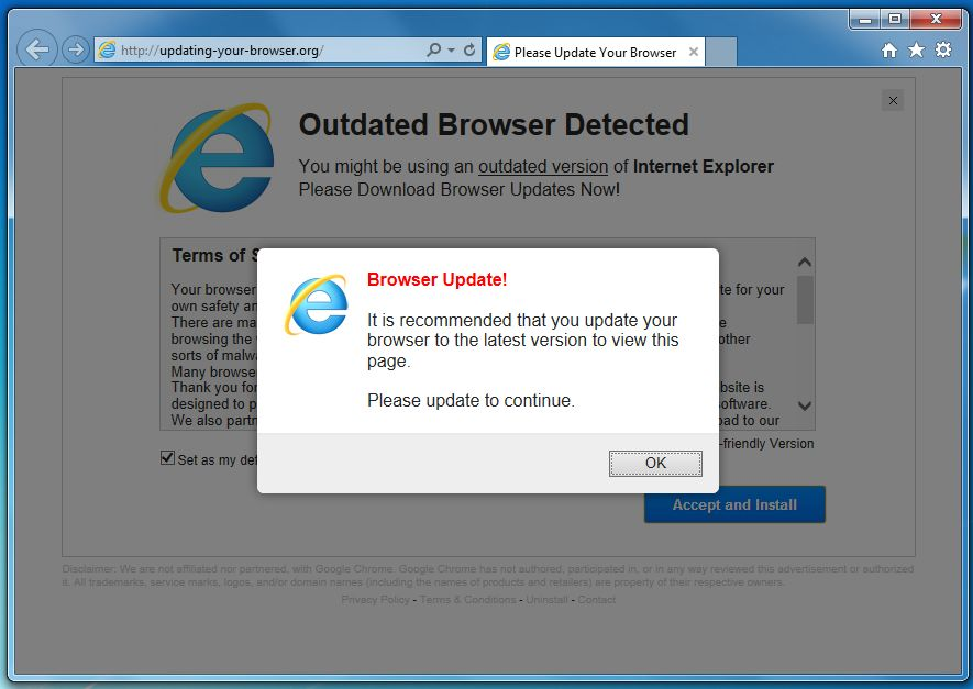 [Image: Updating-your-browser.org pop-up virus]