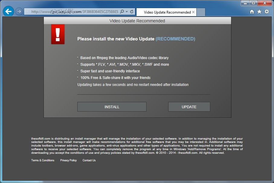 [Image: Video Update Recommended virus]