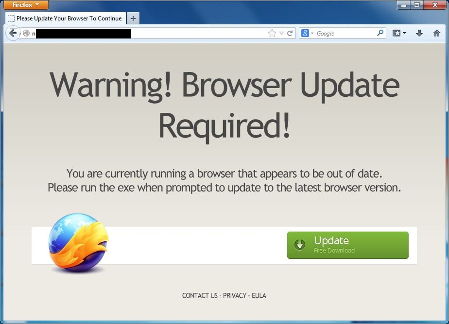 [Image: Warning! Browser Update Required! virus]