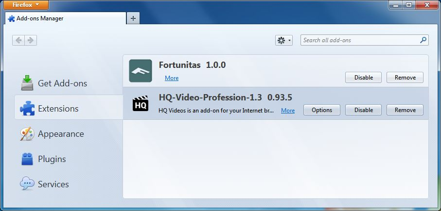 [Image: HQ-Video-Professional Firefox extension]