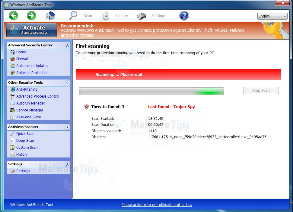 Picture of Windows AntiBreach Tool virus