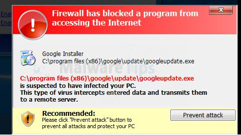 Picture of Windows Paramount Protection Firewall Alert