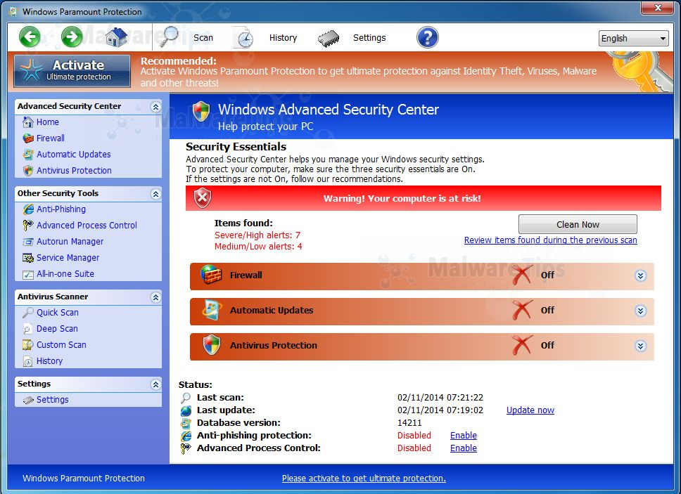 Picture of Windows Paramount Protection malware