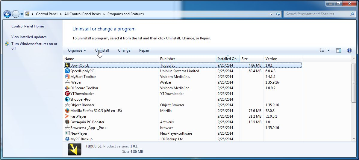 Remove iWebar from Windows