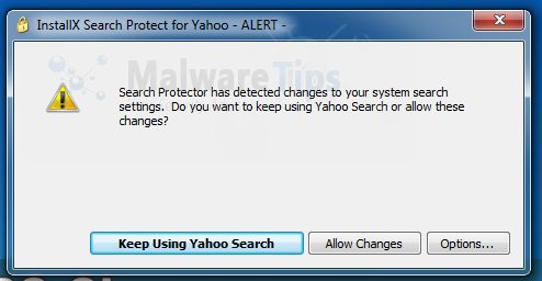 [Image: InstallX Search Protect for Yahoo - Alert pop-up]