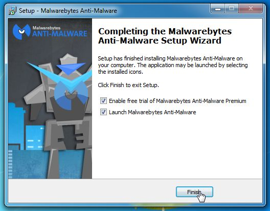 [Image: Malwarebytes Anti-Malware Final Setup Screen]