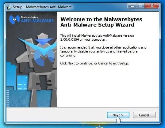 [Imagem: Assistente de configuração de Malwarebytes Anti-Malware]