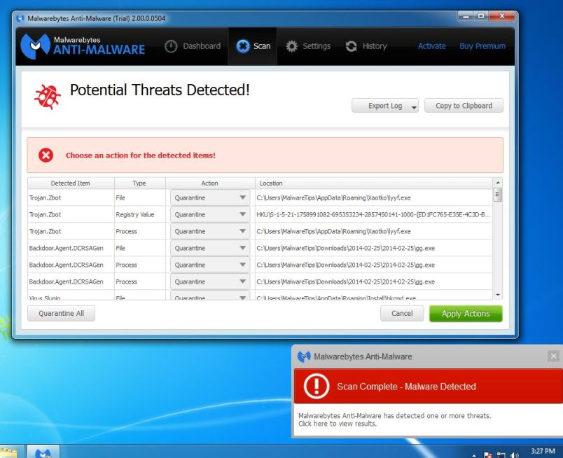 Image: Remove the malware that Malwarebytes Anti-Malware has found]