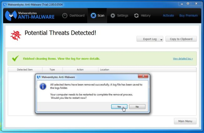 [Image: Malwarebytes Anti-Malware removing Warning! Your PC is about to crash]