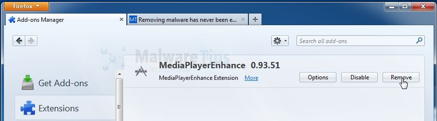 [Image: Media Player Enhance Firefox extension]
