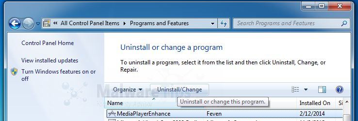 [Image: Uninstall Media Player Enhance program from Windows]