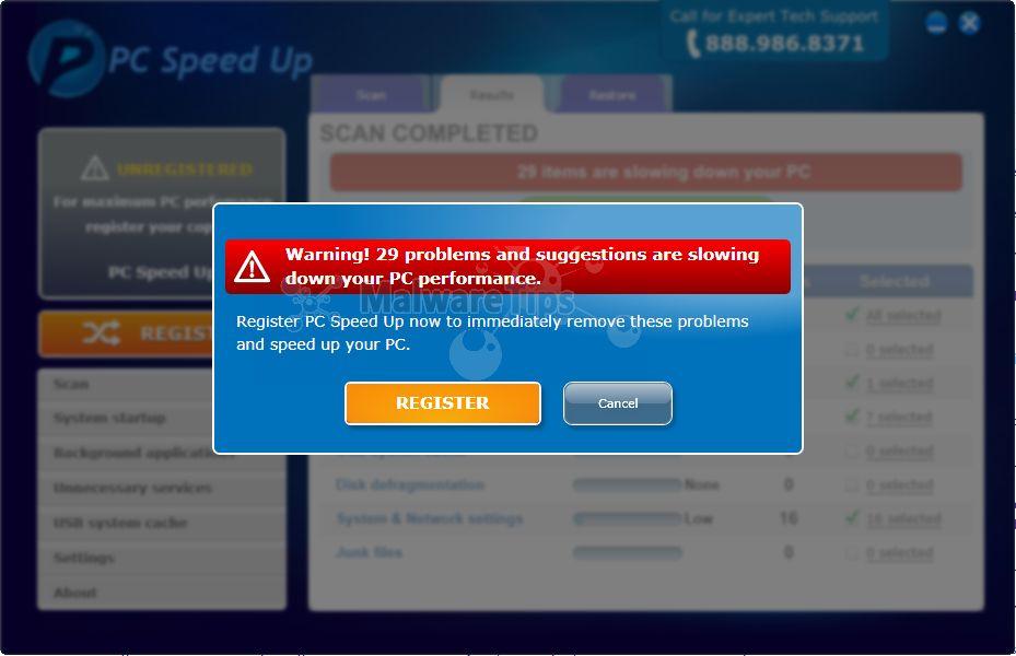 [Image: PC Speed Up pop-up virus]