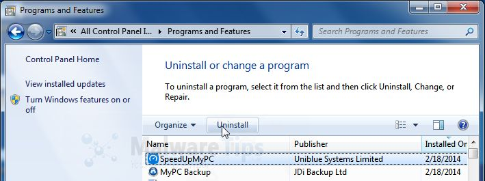 [Image: Uninstall Uniblue SpeedUpMyPC 2014 program from Windows]