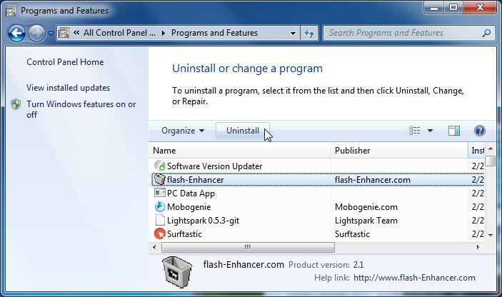 [Image: Uninstall Freeven Pro 1.4 program from Windows]