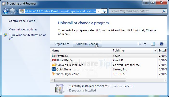 [Image: Uninstall GetSoftFree.com program from Windows]