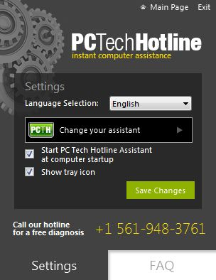 Picture of PCTechHotline pop-up virus