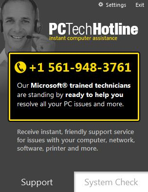 Picture of PCTechHotline virus
