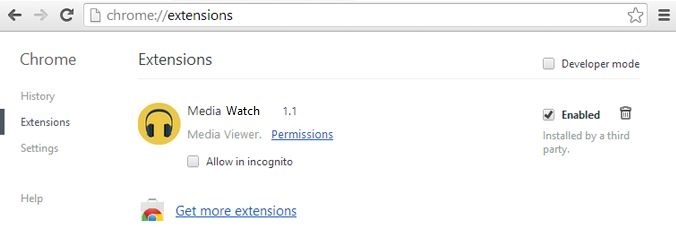 [Image: Media Watch 1.1 Chrome extensions]