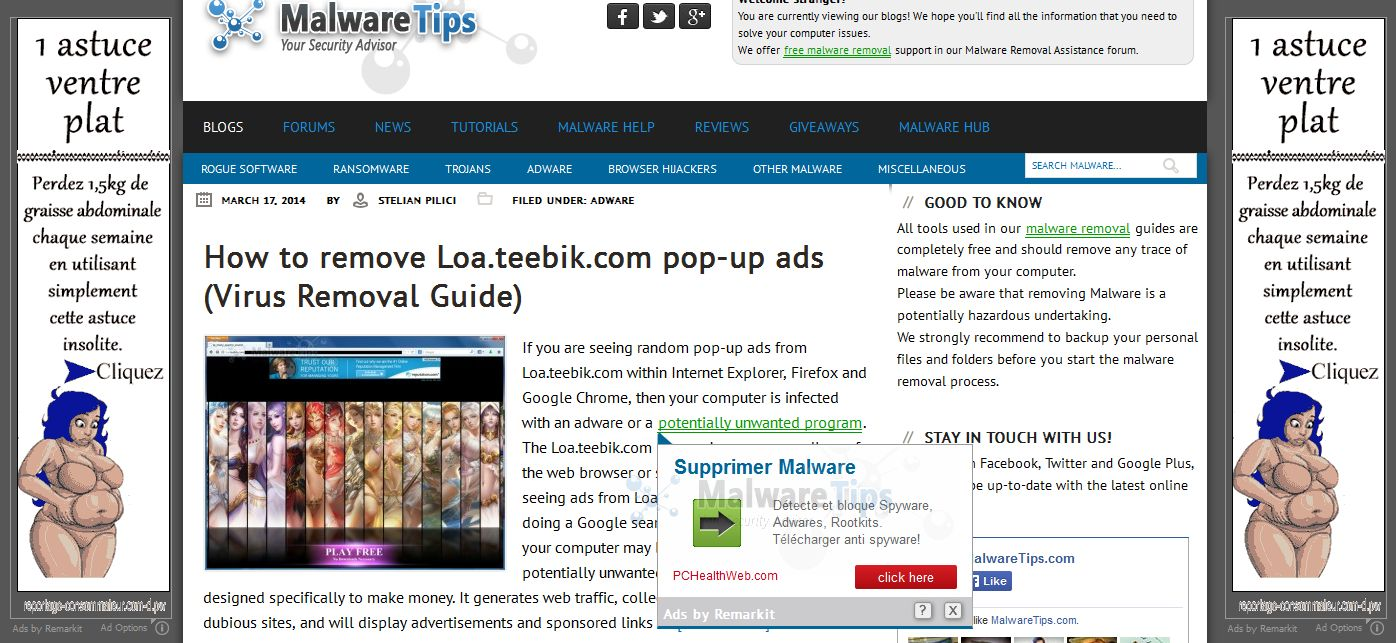 Picture of Ads by Remarkit virus