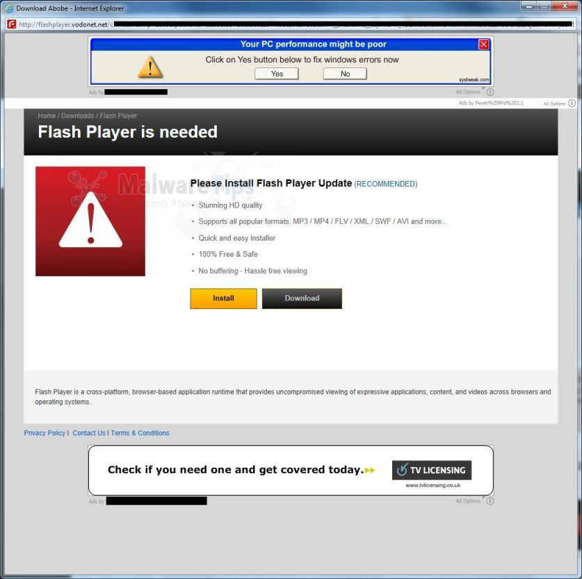 [Image: WARNING! Your Flash Player may be out of date pop-up virus]