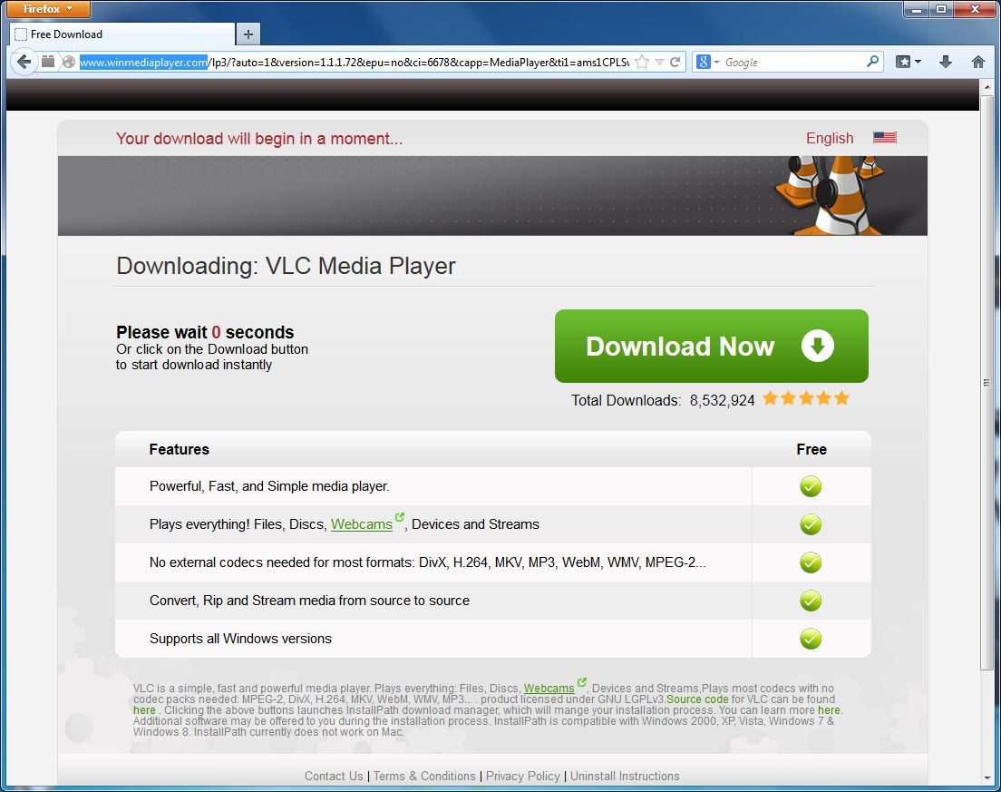 vlc player update virus