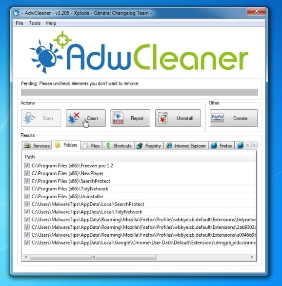 Remove AnyProtect virus with AdwCleaner