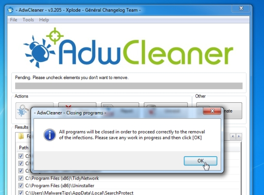 AdwCleaner removing Adware:Win32/Baidu.A virus