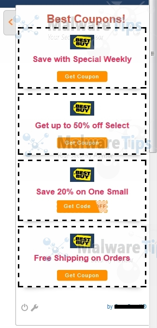 Coupons pop up virus