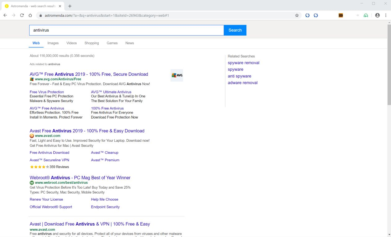 Image: Chrome browser is redirected to Astromenda.com