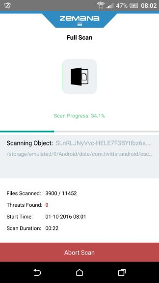 Zemana Mobile Antivirus while scanning