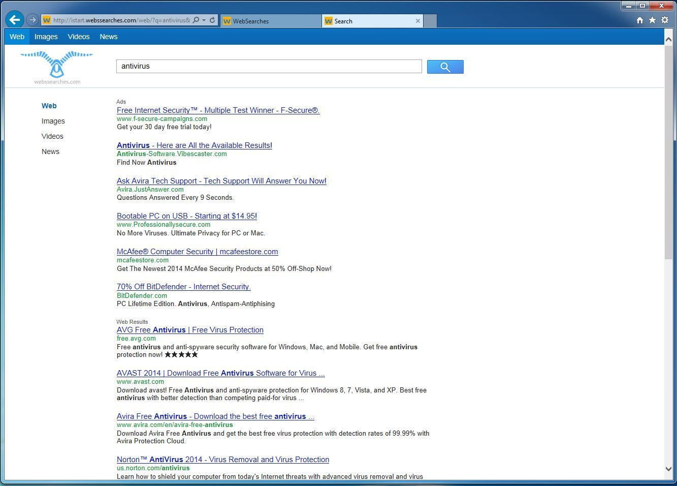 """Remove """"WebSearches"""" redirect (Virus Removal Guide)"""