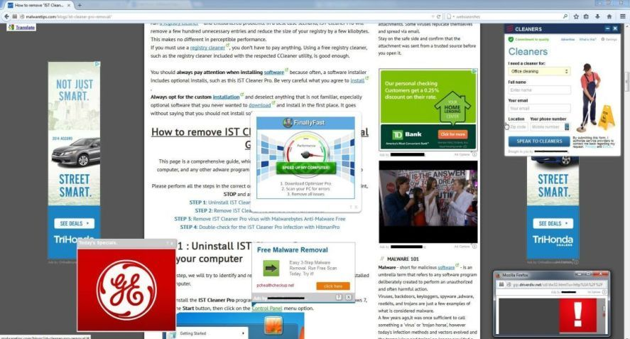 anti virus pop up adverts