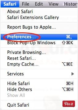 [Image: Select Preferences from the Safari menu]