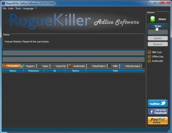 RogueKiller scanning for viruses