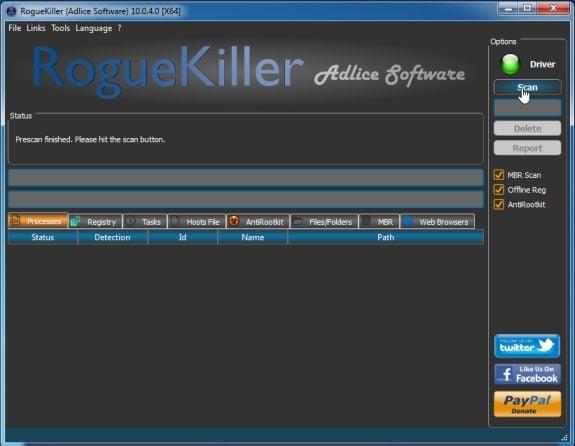 RogueKiller scanning for viruses