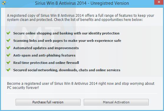 "Remove ""Sirius Win 8 Antivirus 2014"" virus (Removal Guide)"