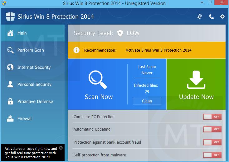 "Remove ""Sirius Win 8 Protection 2014"" virus (Guide)"