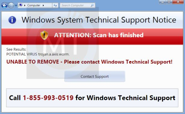 If you are seeing random a windows system technical support notice