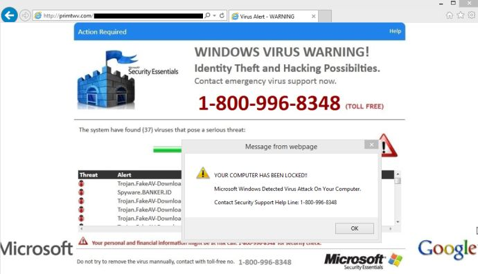 Virus Alert pop-up