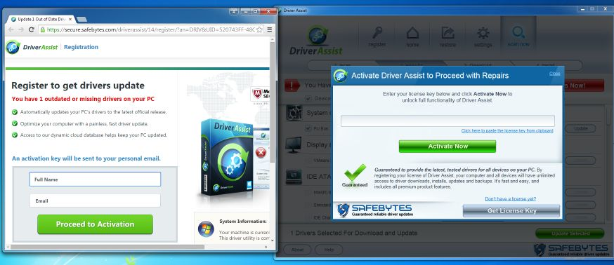 Driver Assist pop-up virus
